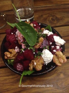 Beetroot, Walnuts, Feta and Spinach warmed.